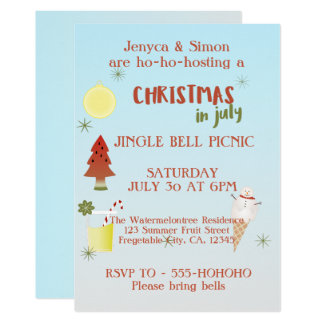 Jingle Bell Picnic Christmas In July Invite