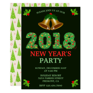 Jingle Bells 2018 New Year's Eve Party Invitation