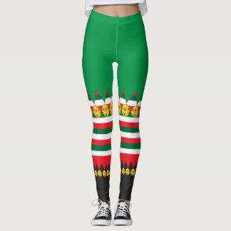 Jingle Bells Christmas Elf Costume Leggings