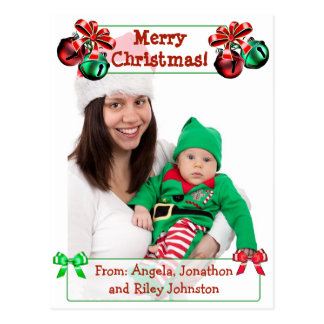 Jingle Bells Christmas Family Photo Postcard