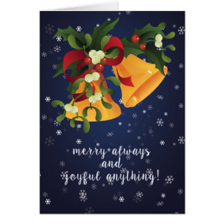 Jingle bells in bouquet mistletoe and holly berry card
