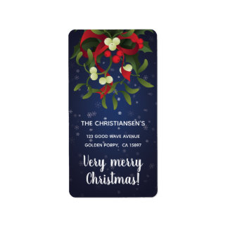 Jingle bells in bouquet mistletoe and holly berry label