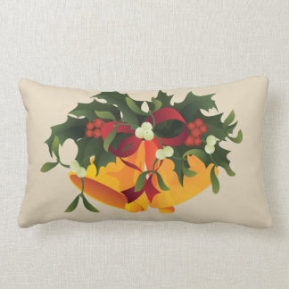 Jingle bells in bouquet mistletoe and holly berry lumbar pillow