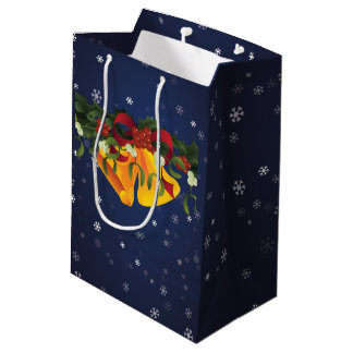 Jingle bells in bouquet mistletoe and holly berry medium gift bag