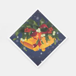 Jingle bells in bouquet mistletoe and holly berry napkin