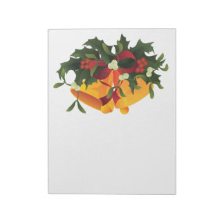 Jingle bells in bouquet mistletoe and holly berry notepad