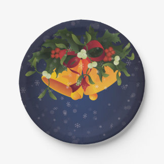 Jingle bells in bouquet mistletoe and holly berry paper plate