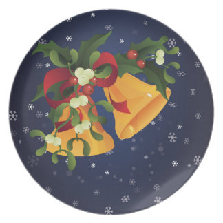 Jingle bells in bouquet mistletoe and holly berry plate