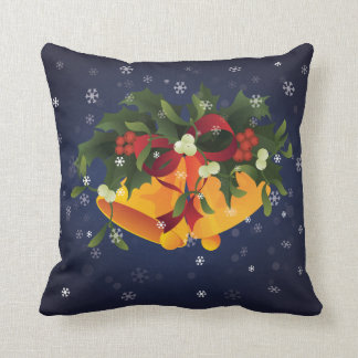Jingle bells in bouquet mistletoe and holly berry throw pillow
