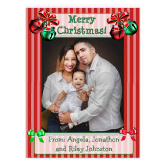 Jingle Bells Red Christmas Family Photo Postcard