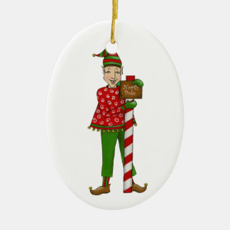"Jingle Elves ""Horace"" Ceramic Ornament"