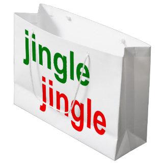 Jingle Jingle Bells Bells - Red Green Christmas Large Gift Bag