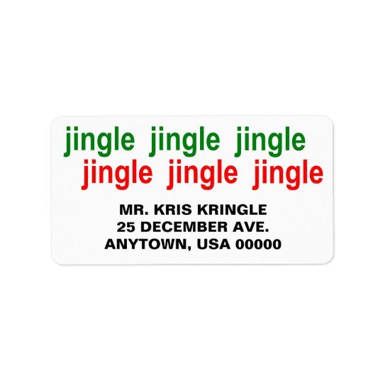 Jingle Jingle Jingle Green Red Christmas Label