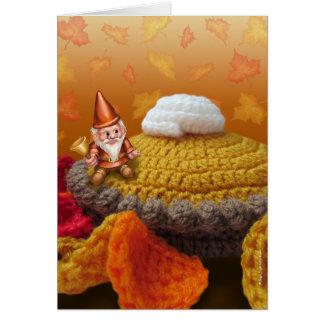 Jingle Jingle Little Gnome on a Pumpkin Pie Card