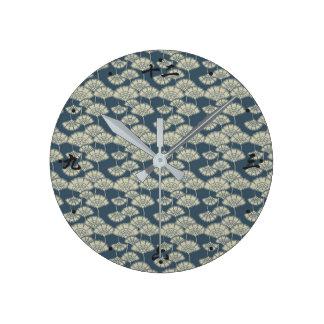Jitaku Blue Lotus Leaves Pattern Clock