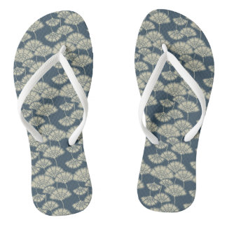 Jitaku Blue Lotus Leaves Pattern Flip Flops