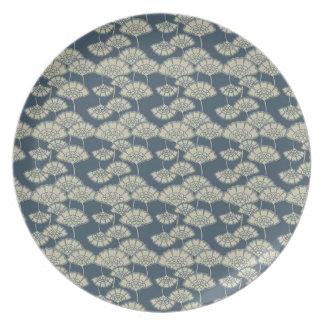 Jitaku Blue Lotus Leaves Pattern Melamine Plate
