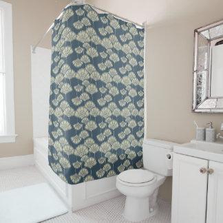 Jitaku Blue Lotus Leaves Pattern Shower Curtain