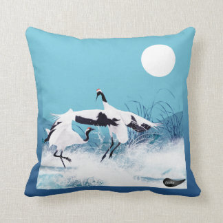 Jitaku Crane Dance Blue And Grey Two Ways Pillow