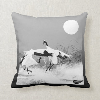 Jitaku Crane Dance Grey Pillow