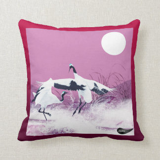 Jitaku Crane Dance Red Pillow