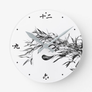 Jitaku Grey Bamboo Leaves Clock