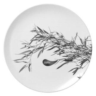 Jitaku Grey Bamboo Leaves Melamine Plate