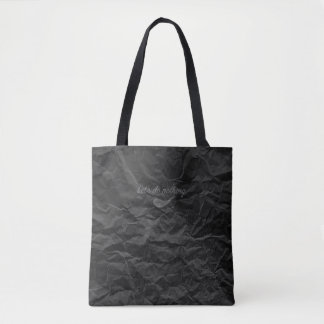 Jitaku Let's Do Nothing Black Wrinkled Tote Bag