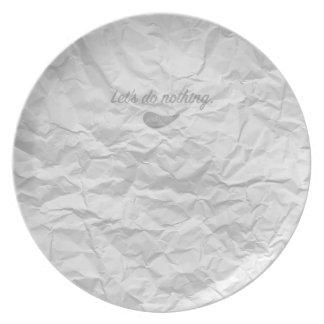 Jitaku Let's Do Nothing White Melamine Plate