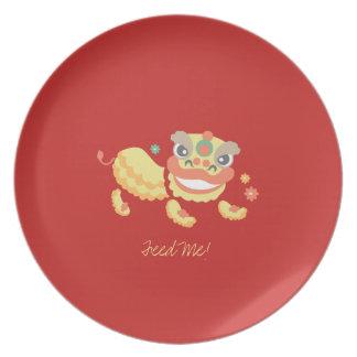 Jitaku Lion Dance Feed Me Melamine Plate