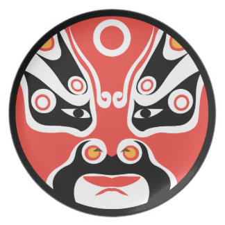 Jitaku Red Mask Melamine Plate