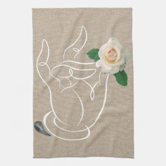 Jitaku Smell The Roses Beige Linen Kitchen Towel