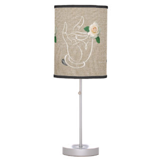 Jitaku Smell The Roses Beige Linen Table Lamp