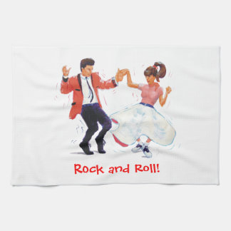 Jivers Classic 1950s Rock and Roll Dancing Cartoon Kitchen Towel