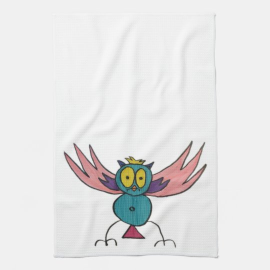 "JMCdesign Pink Owl Kitchen Towel 16"" x 24"""