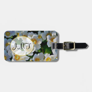 """JMT"" Monogram on White Flowers Luggage Tag"