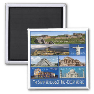 JO * The Seven Wonders Of The Modern World Square Magnet