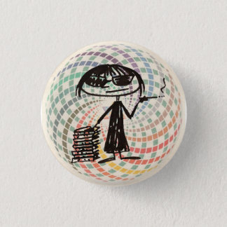 joan didion with sacred geometry 1 inch round button