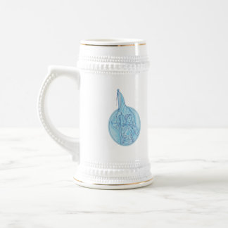 Joan of Arc Holding Flag Oval Drawing Beer Stein
