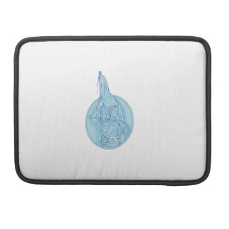 Joan of Arc Holding Flag Oval Drawing MacBook Pro Sleeves