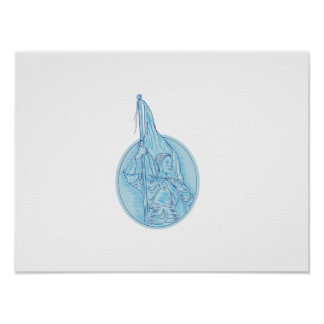 Joan of Arc Holding Flag Oval Drawing Poster