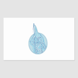 Joan of Arc Holding Flag Oval Drawing Sticker