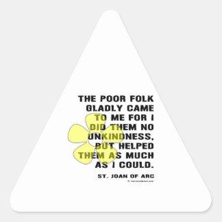 Joan of Arc Kindess Triangle Sticker