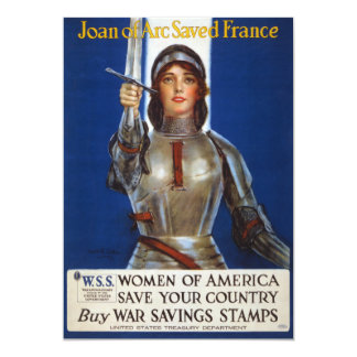 "Joan of Arc World War I Buy War Saving Stamps 5"" X 7"" Invitation Card"