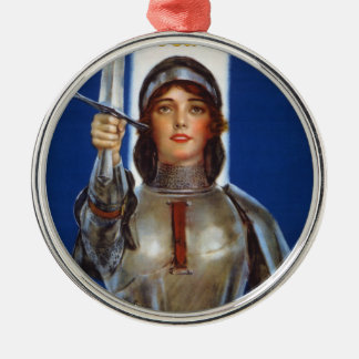 Joan of Arc World War I Buy War Saving Stamps Silver-Colored Round Ornament