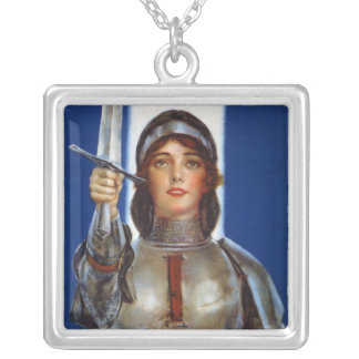 Joan of Arc World War I Buy War Saving Stamps Silver Plated Necklace