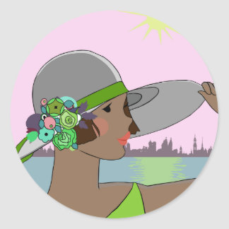 Joanne - Art Deco Portrait in Green & Mauve Classic Round Sticker
