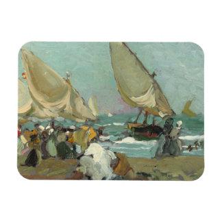 Joaquin Sorolla - Boats on the beach of Valencia Rectangular Photo Magnet