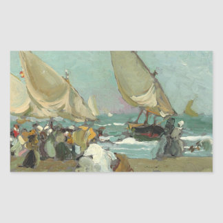 Joaquin Sorolla - Boats on the beach of Valencia Sticker