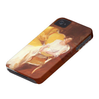 Joaquín Sorolla- Clotidle sitting on the sofa iPhone 4 Case-Mate Case
